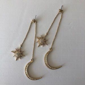 Celestial Moon and Star Pendant Drop Earrings